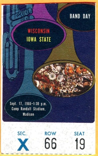 1966 NCAAF Iowa State at Wisconsin ticket stub 22.50