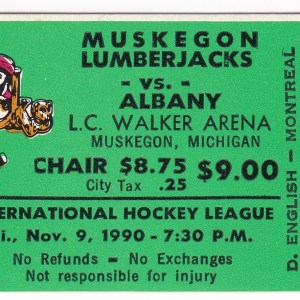 1990 IHL Muskegon Lumberjacks ticket vs Albany 11/9/1990