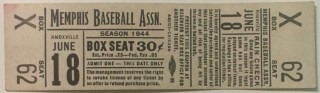 1944 MiLB Southern Association Knoxville Smokies Mobile BayBears at Memphis Chickasaws ticket stub