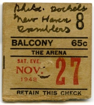 1948 AHL New Haven Ramblers at Philadelphia Rockets ticket stub