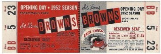 1952 MLB White Sox at Browns Full Ticket 144