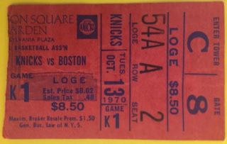 1970 NBA Celtics at Knicks Dave Cowens NBA debut ticket stub