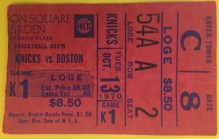 1970 NBA Celtics at Knicks Dave Cowens NBA debut ticket stub 125