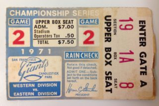 1971 NLCS Pirates at Giants ticket stub