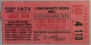 1974 MLB Braves at Reds Opening Day Ticket Stub Hank Aaron 150