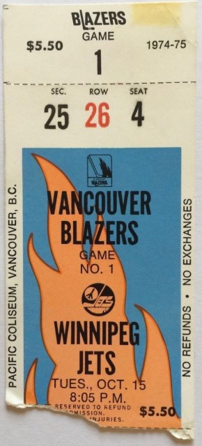 1974 WHA Vancouver Blazers ticket stub vs Winnipeg