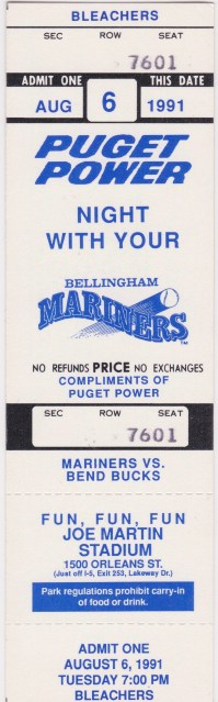 1991 Northwest League Bend Bucks at Bellingham Mariners