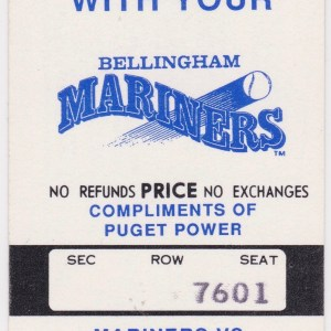 1991 Bellingham Mariners season ticket vs Bend Bucks 8/6/1991