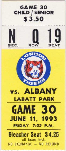 1993 Eastern League Albany-Colonie Yankees at London Tigers