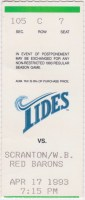 1993 Norfolk Tides ticket stub vs Scranton
