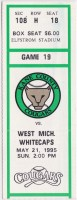 1995 Kane County Cougars ticket stub vs West Michigan