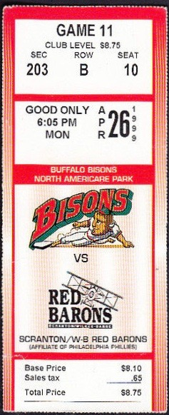 1999 International League Scranton Wilkes Barre Red Barons at Buffalo Bisons
