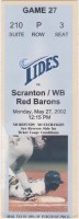 2002 Norfolk Tides ticket stub vs Scranton