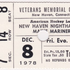 1978 New Haven Nighthawks ticket stub vs Maine 12/8/1978
