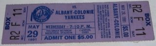 1991 Eastern League Albany-Colonie Yankees at Canton Akron Indians