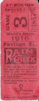 1916 World Series Game 3 Ticket Stub Dodgers at Red Sox