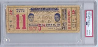 1938 Max Schmeling v Joe Louis Full Boxing Ticket 1st Round KO