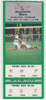 1985 Greenville Braves ticket stub vs Huntsville Stars