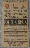 1938 New York Yankees ticket stub vs Cleveland Indians
