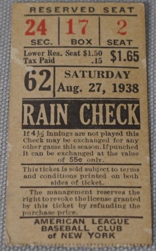 1938 New York Yankees ticket stub vs Cleveland Indians 527