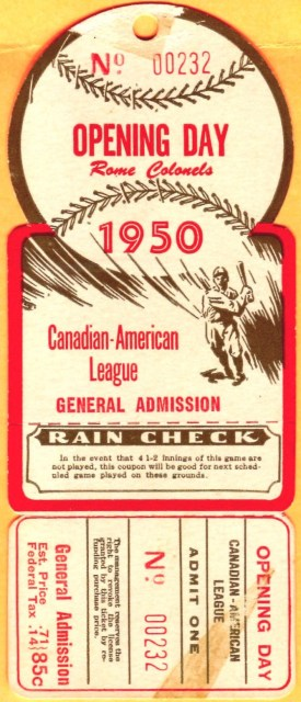 1950 Rome Colonels Opening Day die cut ticket 40