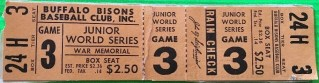 1961 Junior World Series Buffalo Bisons Ticket vs Louisville Colonels