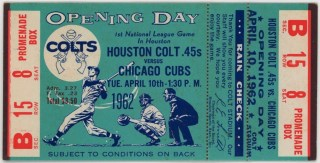 1962 Houston Colt 45s ticket vs Chicago Cubs Inaugural Game 461