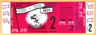 1971 ALCS Game 2 A's at Orioles full ticket