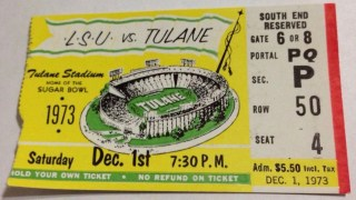 1973 Tulane football ticket stub vs LSU