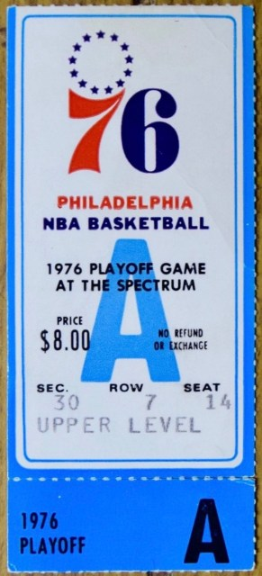 1976 Philadelphia 76ers Playoff Ticket Stub vs Buffalo Braves NBA
