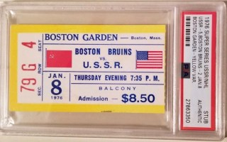 1976 Super Series Boston Bruins ticket stub vs Red Army