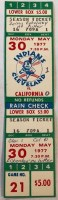 1977 Dennis Eckersley No Hitter Full Ticket Angels at Indians