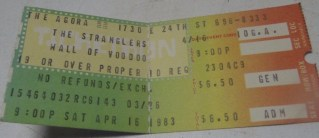 1983 Stranglers Wall of Voodoo Ticket Stub Agora Cleveland