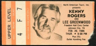1986 Kenny Rogers and Lee Greenwood Concert Ticket Stub Johnson City