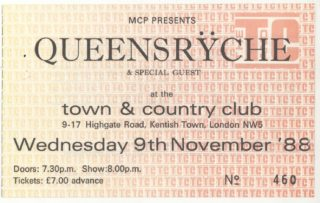 1988 Queensryche London England Town and Country Club Ticket Stub