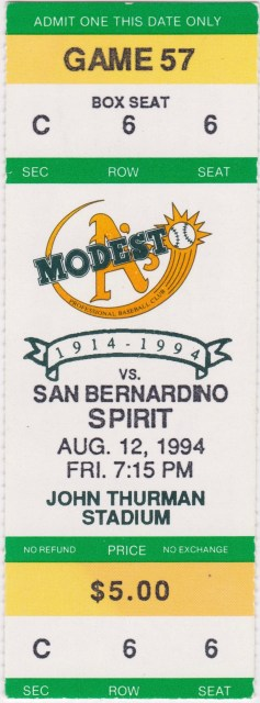 1994 Modesto Athletics Ticket Stub vs San Bernardino