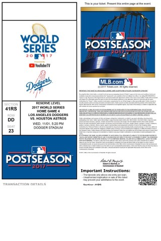 2017 World Series Game 7 Dodgers ticket vs Astros