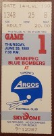 1989 CFL Toronto Argonauts ticket stub vs Winnipeg Blue Bombers