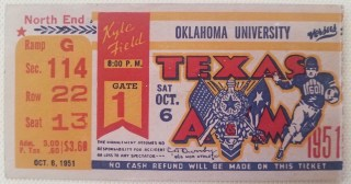 1951 NCAAF Texas A&M ticket stub vs Oklahoma University 30