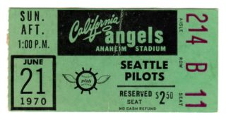 1970 California Angels ticket stub vs Milwaukee Brewers