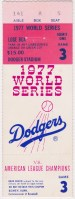 1977 World Series Game 3 ticket stub Yankees at Dodgers
