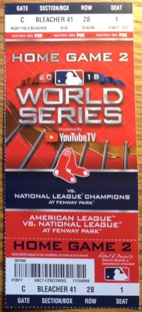 2018 World Series Game 2 Dodgers at Red Sox ticket stub 180