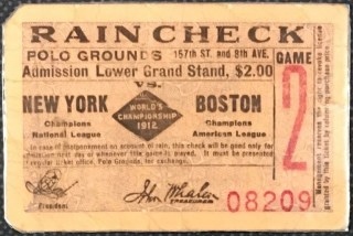 1912 World Series Game 2 ticket stub Red Sox vs Giants 995