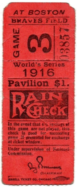 1916 World Series Game 3 ticket stub Dodgers vs Red Sox