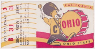1953 NCAAF California unused ticket vs Ohio State 12