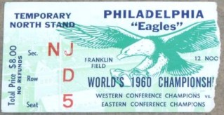 1960 NFL Championship Game ticket stub Packers vs Eagles 425