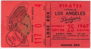 1967 MLB Los Angeles Dodgers ticket stub vs Pittsburgh Pirates