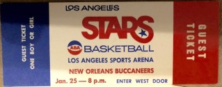 1969 ABA Los Angeles Stars unused ticket vs New Orleans Buccaneers
