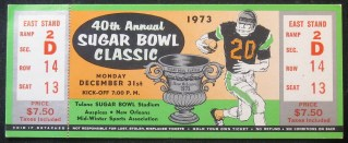 1973 Sugar Bowl unused ticket Alabama vs Notre Dame 140