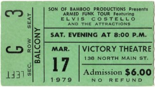 1979 Elvis Costello and the Attractions Rubinoos ticket stub Dayton 17